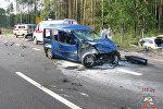 Разбитый автомобиль под Осиповичами