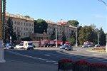 Пожарные машины возле станции метро Площадь победы