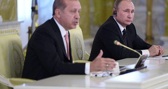 Встреча президентов России и Турции В. Путина и Р. Эрдогана в Санкт-Петербурге