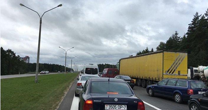 Пробка на въезд в Минск