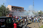 Место взрыва в городе Элязыг