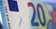Подпись президента ЕЦБ Марио Драги на новой банкноте 20 евро