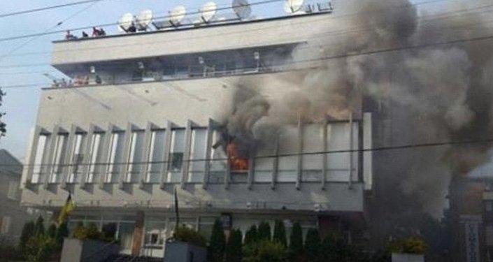 Пожар вофисе канала «Интер» вКиеве ликвидирован
