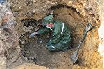 Раскопки на месте бывшего концлагеря для военнопленных Шталаг 382