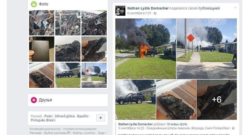 ВоФлориде из-за возгорания телефона Galaxy Note 7 сгорела машина
