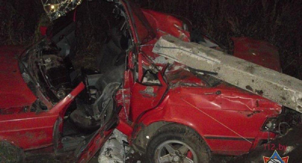 ВБыховском районе Mercedes снес столб— пассажир чудом уцелел