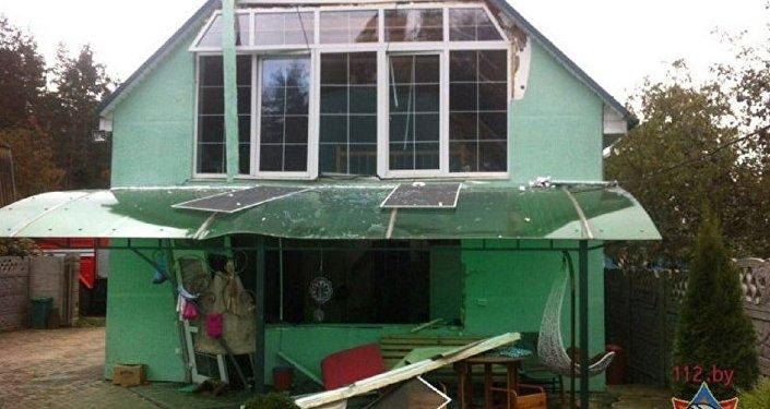 Дом, разрушенный в результате взрыва котла в Смолевичском районе