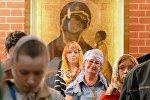 Верующие во время божественной литургии