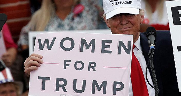 Кандидат в президенты США от Республиканской партии Дональд Трамп на предвыборном митинге