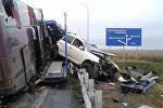 Кадры с места аварии пассажирского автобуса на трассе Беслан-Владикавказ