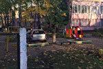 Машина на территории детсада в Минске