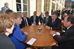 Президент России Владимир Путин, президент Украины Петр Порошенко, президент Франции Франсуа Олланд и канцлер Германии Ангела Меркель