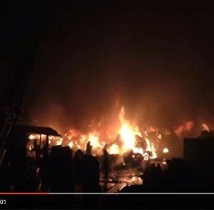 Пожар на свалке шин под Гродно