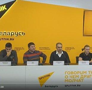 Пресс-конференция ХК Арарат в пресс-центре Sputnik Беларусь