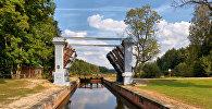 Аўгустоўскі канал, шлюз - на мяжы Польшчы і Беларусі