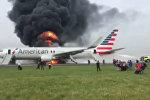 Спутник_Boeing загорелся после неудачного взлета в аэропорту Чикаго. Съемка очевидца