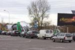 Автомобили в очереди на белорусско-польской границе