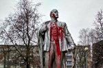 Памятник Ленину в Лиде облили красной краской