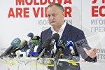 Лидер Партии социалистов Игорь Додон в ходе брифинга в ночь на понедельник объявил о своей победе во втором туре президентских выборов