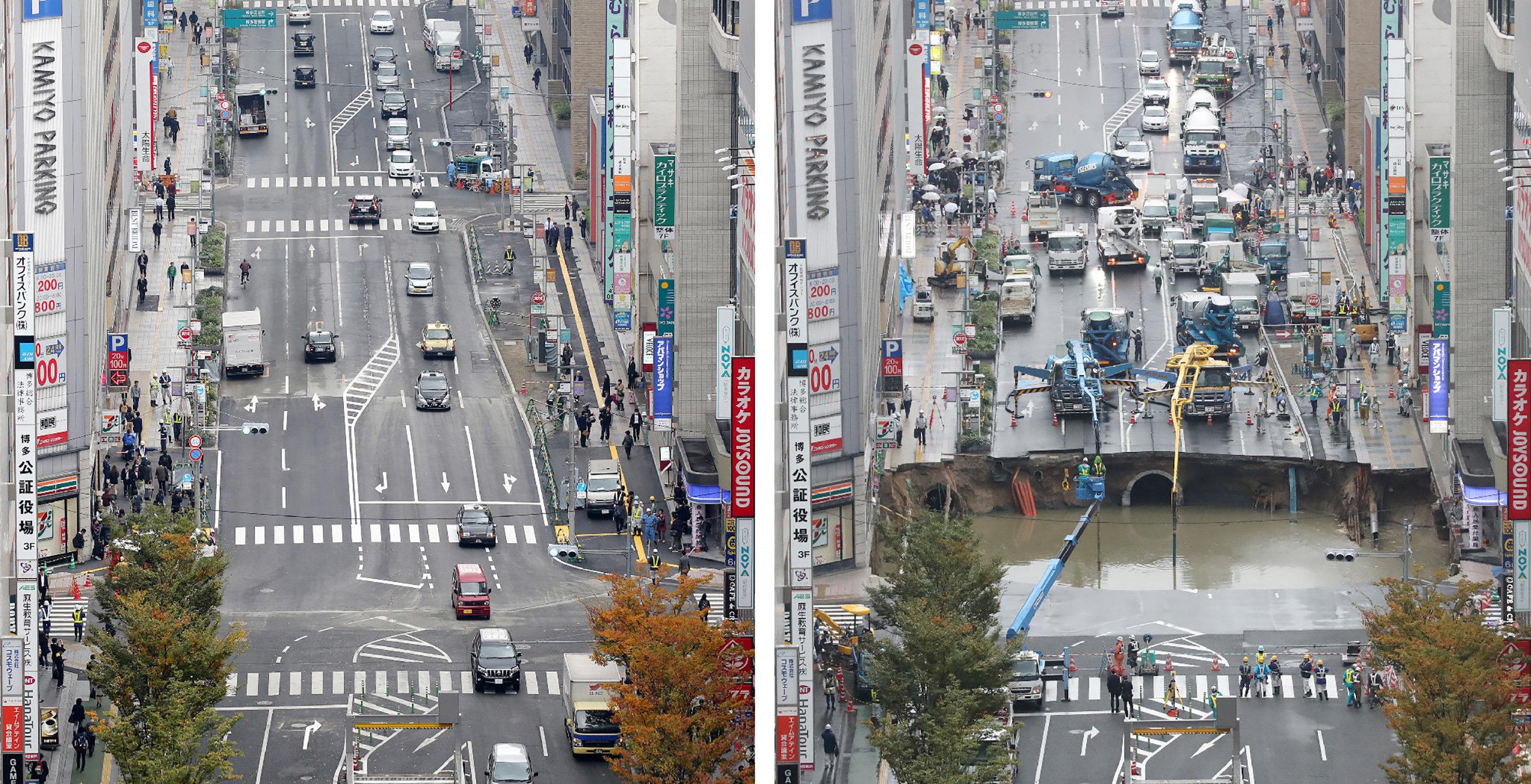 ВЯпонии провал впятиполосной дороге отремонтировали за48 часов