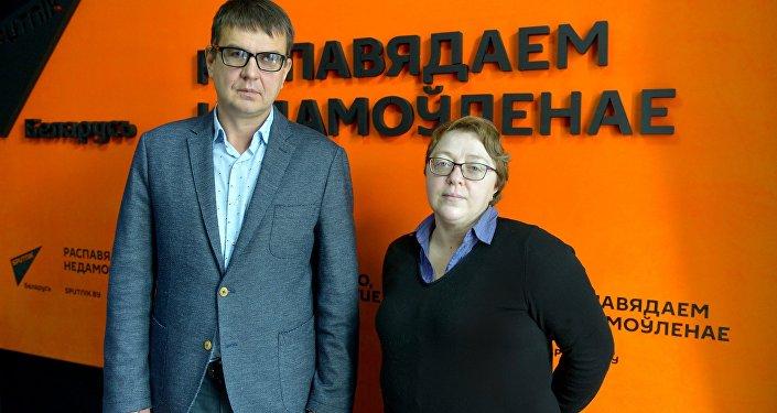 Корреспондент агентства Sputnik Беларусь Елена Ольшанская и глава инвесткомпании Юнитер Андрей Дерех