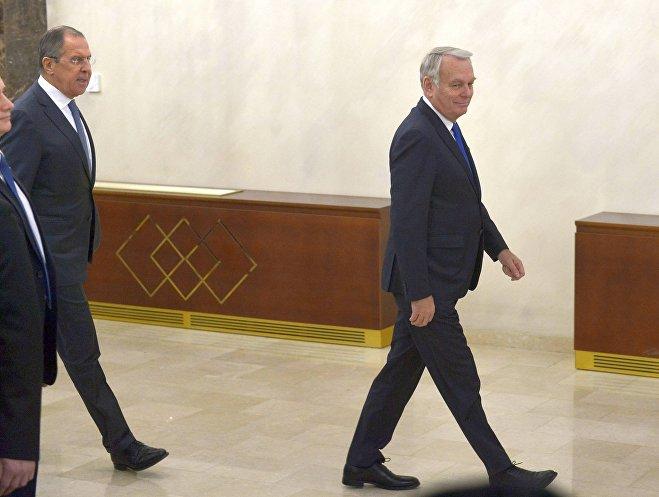 Министры иностранных дел РФ и Франции Сергей Лавров и Жан-Марк Эйро