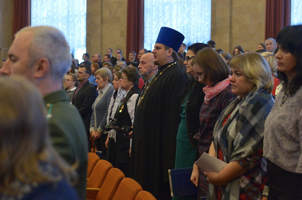 Молитва перед Рождественскими чтениями в актовом зале Национальной академии наук Беларуси