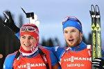 Антон Бабиков (слева) и Максим Цветков (справа) после гонки преследования в Эстерсунде