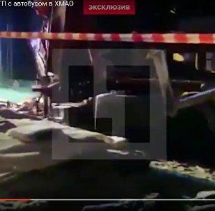 Кадры с места ДТП автобуса с детьми в ХМАО появились в интернете
