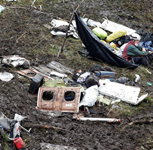 Обломки самолета, разбившегося в Колумбии
