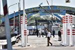 КПП Ак-Жол перед церемонией открытия границ Казахстана и Кыргызстана