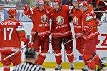 Игроки сборной Беларуси в матче против команды Словакии на Чемпионате мира по хоккею