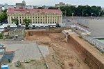Октябрьская площадь. Стройплощадка на месте музея ВОВ