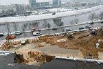 При проведении строительных работ в Вильнюсе образовался карстовый провал