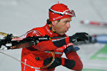 Уле-Эйнар Бьорндален (Норвегия), завоевавший серебряную медаль в спринтерской гонке на 10 километров на пятом этапе Кубка мира по биатлону в Германии в городе Рупольдинг (2010 год).