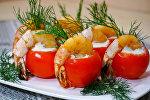 Помидоры черри, фаршированные сливочным сыром и креветками