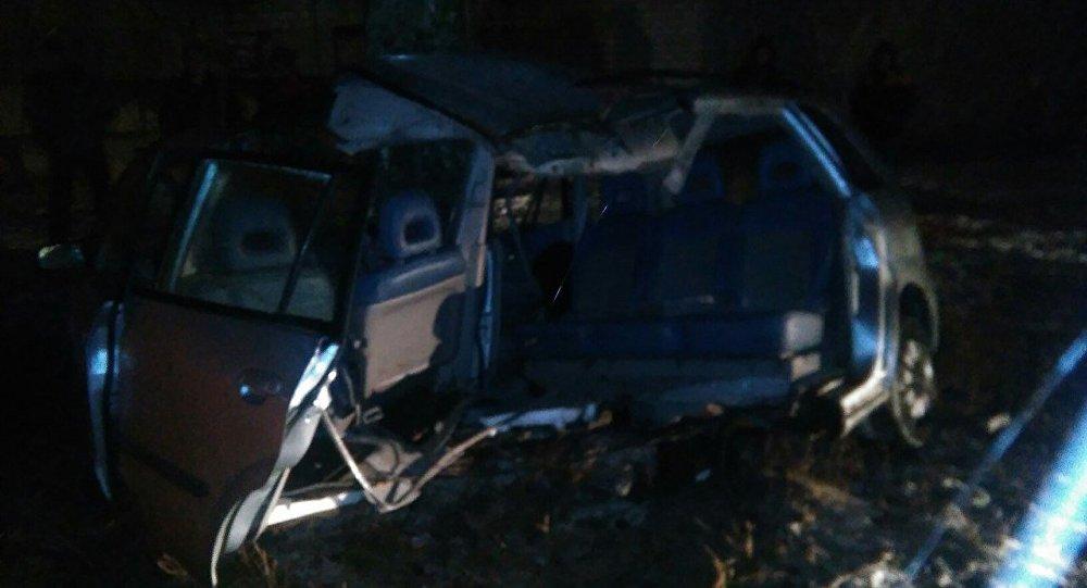 Авария вБорисове: машину Мазда разорвало отудара одерево