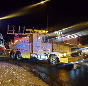 Эвакуация белорусского автобуса в Польше