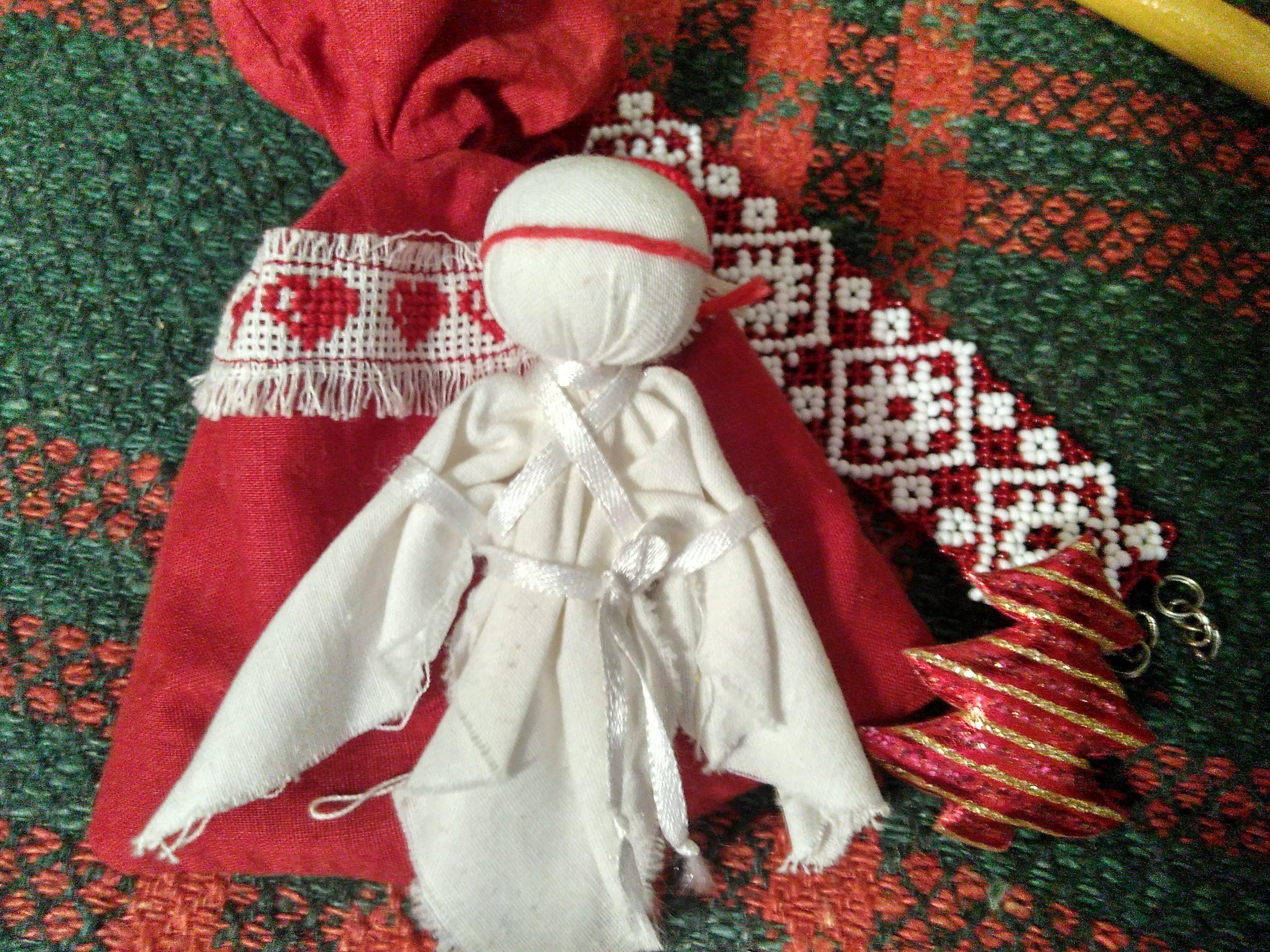 Калядны падарунак анёлак, народная лялька