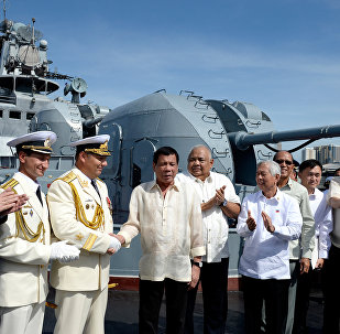 Президент Филиппин Родриго Дутерте на российском корабле Адмирал Трибуц