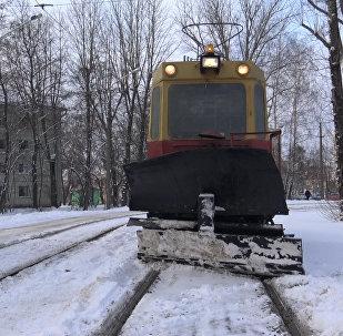 Cнегаўборачны трамвай – рэпартаж з кабіны вадзіцеля