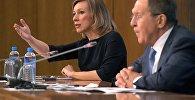 Официальный представитель министерства иностранных дел РФ Мария Захарова на пресс-конференции министра иностранных дел РФ Сергея Лаврова
