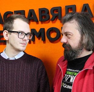 Ведущий радио Sputnik Беларусь Александр Кривошеев и корреспондент агентства Sputnik Евгений Казарцев