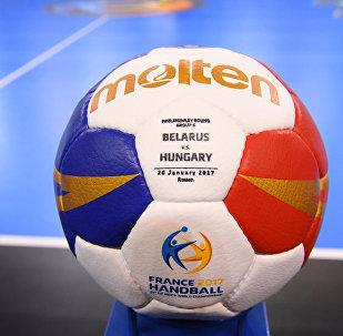 Гандбольный мяч на матче Беларусь - Венгрия