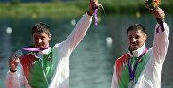 Спартсмены з Беларусі Андрэй і Аляксандр Багдановічы на Алімпійскіх гульнях 2012 года ў Лондане.