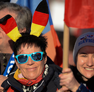 Немецкие болельщики во время гонки