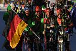 Биатлонистки сборной Германии, завоевавшие золотые медали в эстафете среди женщин на шестом этапе Кубка мира по биатлону сезона 2016/17