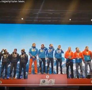 Гимн России перепутали во время награждения на ЧМ по биатлону