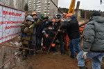 Борьба активистов со строителями в Куропатах