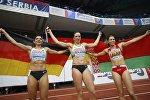 Алина Талай (справа) на Чемпионате Европы по легкой атлетике